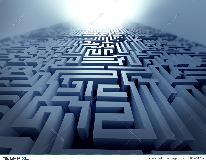 Blue Maze ,complex Problem Solving Concept Illustration 66784789