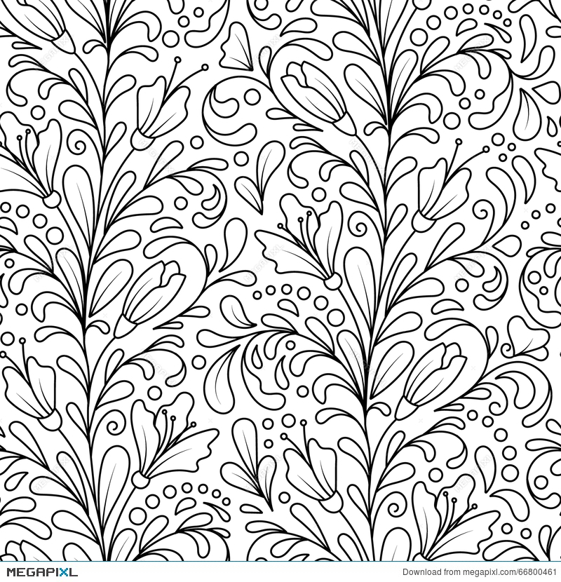 Vector Seamless Monochrome Floral Pattern Hand Drawn Doodle