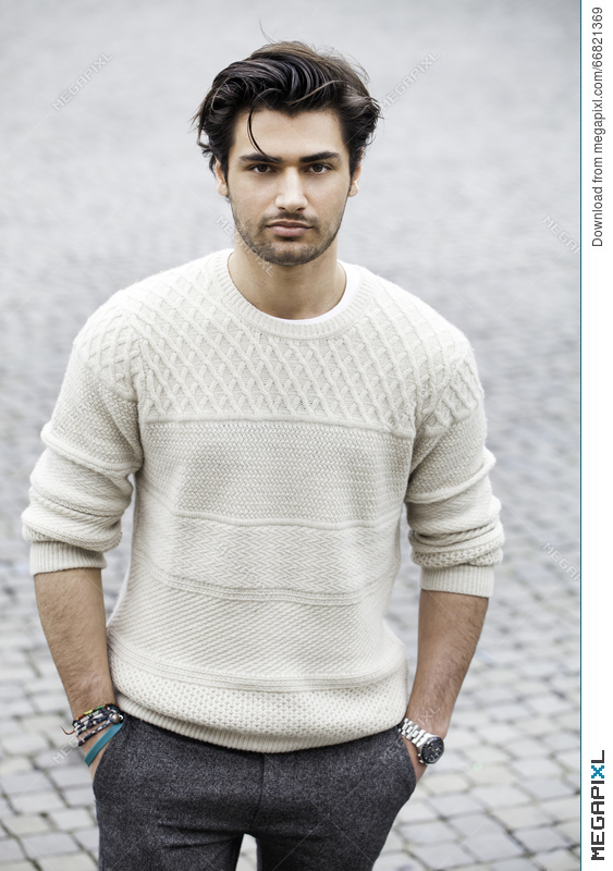 Handsome Fashion Young Man Outdoors Black Hair Style Stock Photo