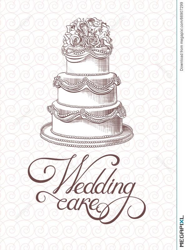 Wedding Vintage Cake Vector