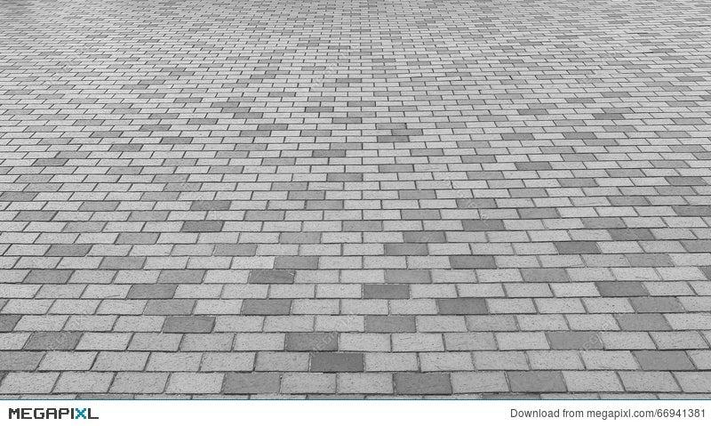 Perspective View Of Monotone Gray Brick Stone Street Road Sidewalk Pavement Texture