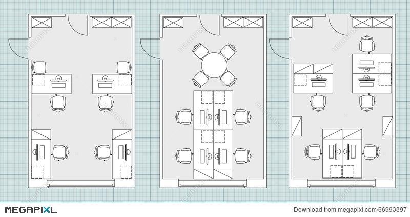 Standard Office Furniture Symbols On Floor Plans Illustration 66993897 Megapixl