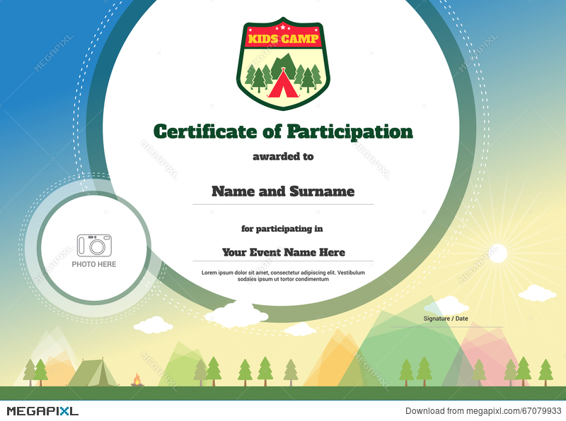 Kids certificate template in vector for camping participation kids certificate template in vector for camping participation yelopaper Image collections