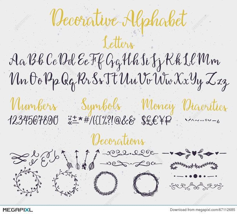 Decorative Brush Lettering Alphabet  Illustration 67112685