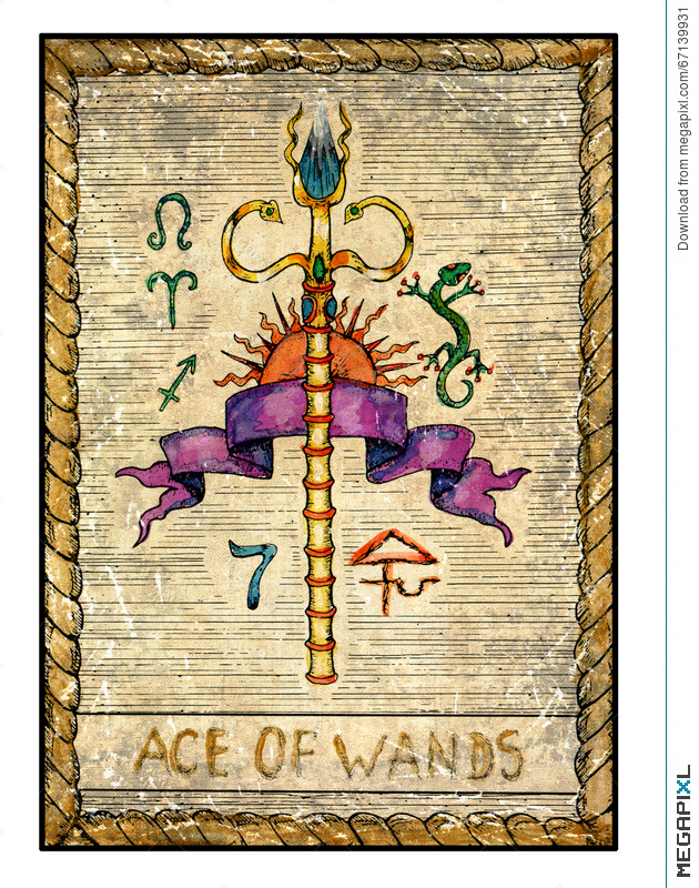 Old Tarot Cards Full Deck Ace Of Wands Illustration 67139931