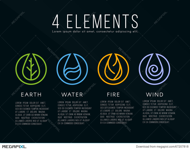 Nature 4 Elements Logo Sign Water Fire Earth Air On Dark