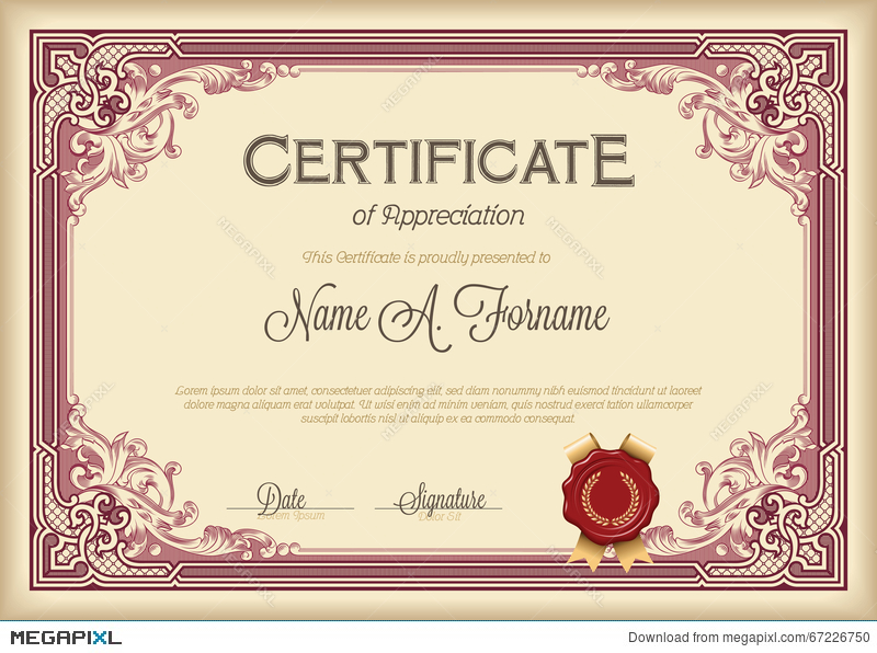 certificate of appreciation vintage floral frame illustration