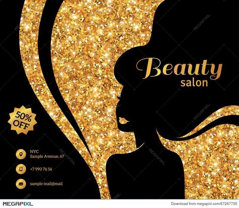 Black And Gold Flyer Fashion Woman Long Hair Illustration 67267735 Megapixl