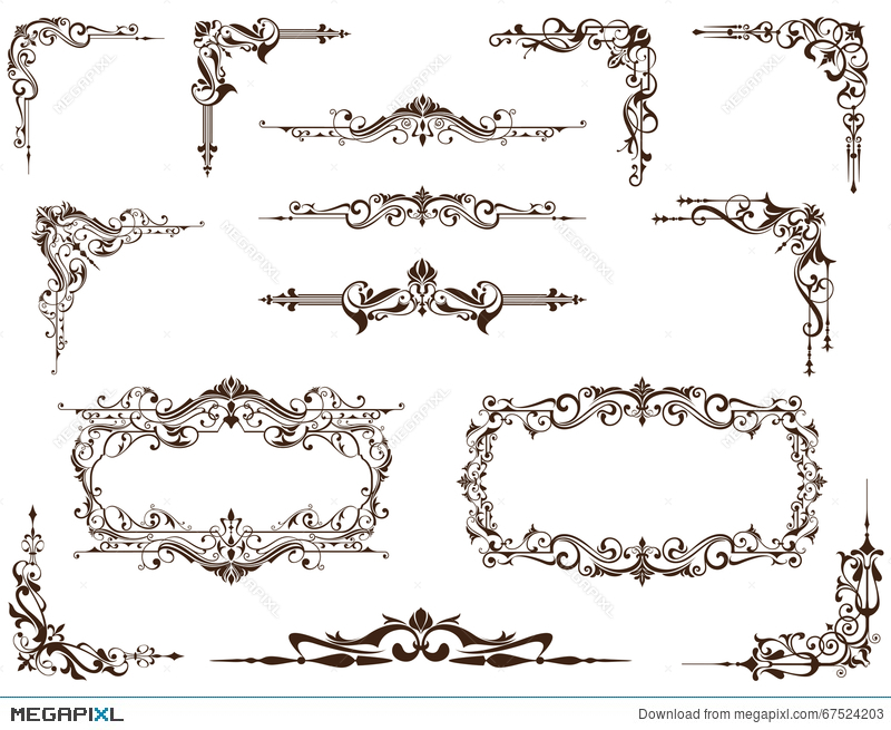 Vector Set Of Vintage Frames Borders And Corners