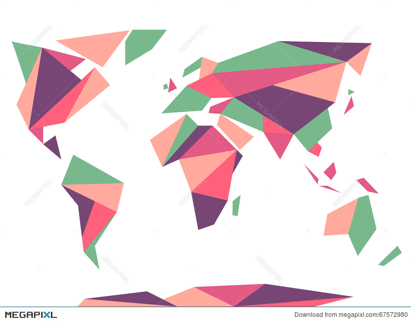 Low Polygonal Origami Style World Map Abstract Vector Template
