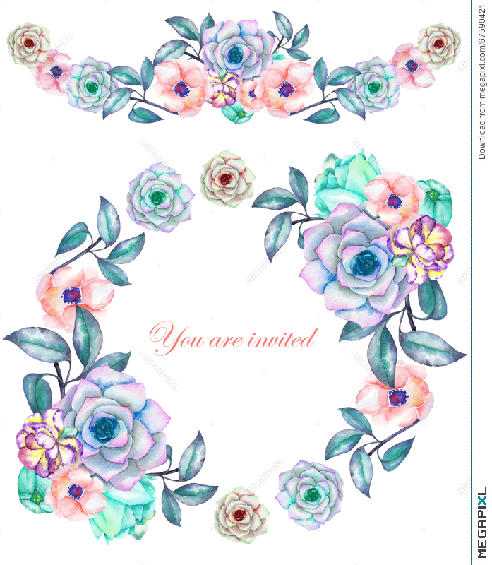 A Circle Frame Wreath And Border Garland With The Watercolor Flowers