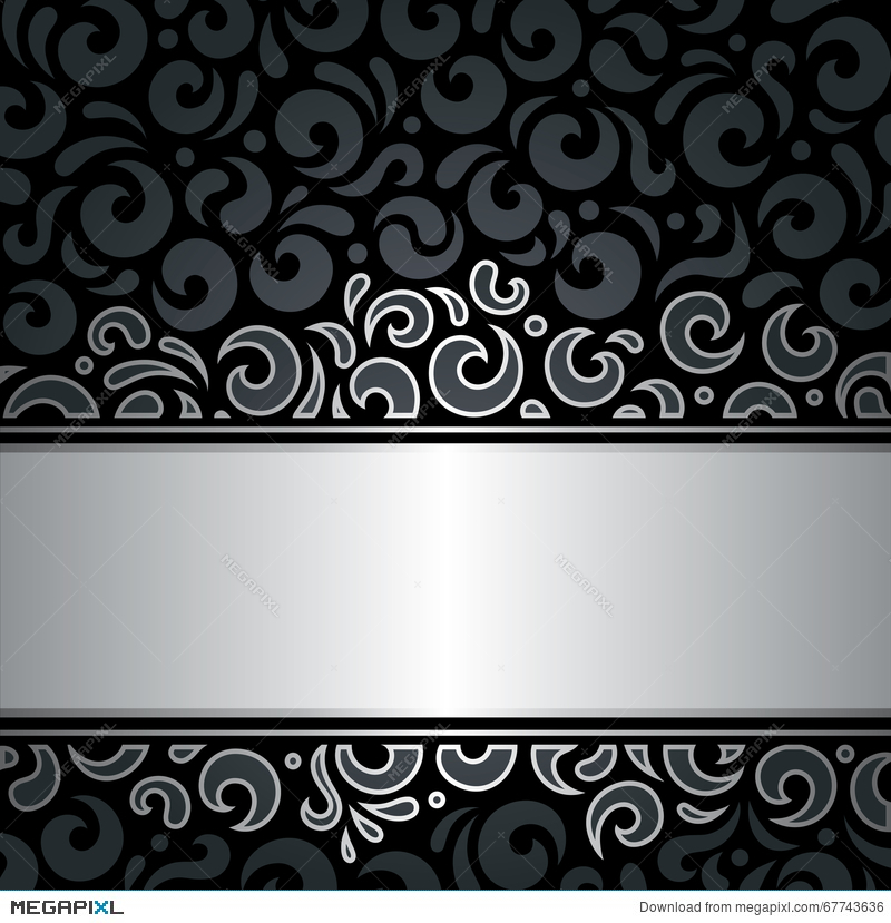 Decorative Black Silver Luxury Vintage Wallpaper Background