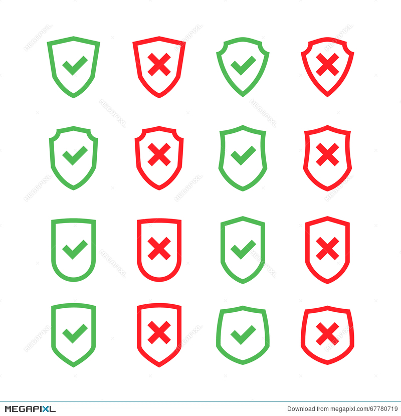 Set Of Shields With Checkmark Symbol In Flat Design Style