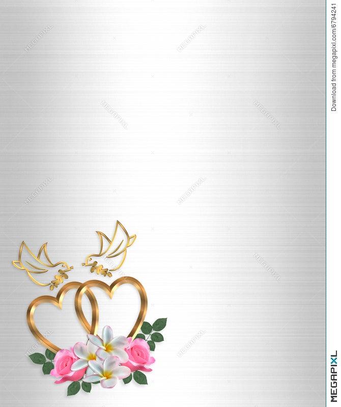 Wedding Invitation Gold Heart And Doves Illustration 6794241 ...