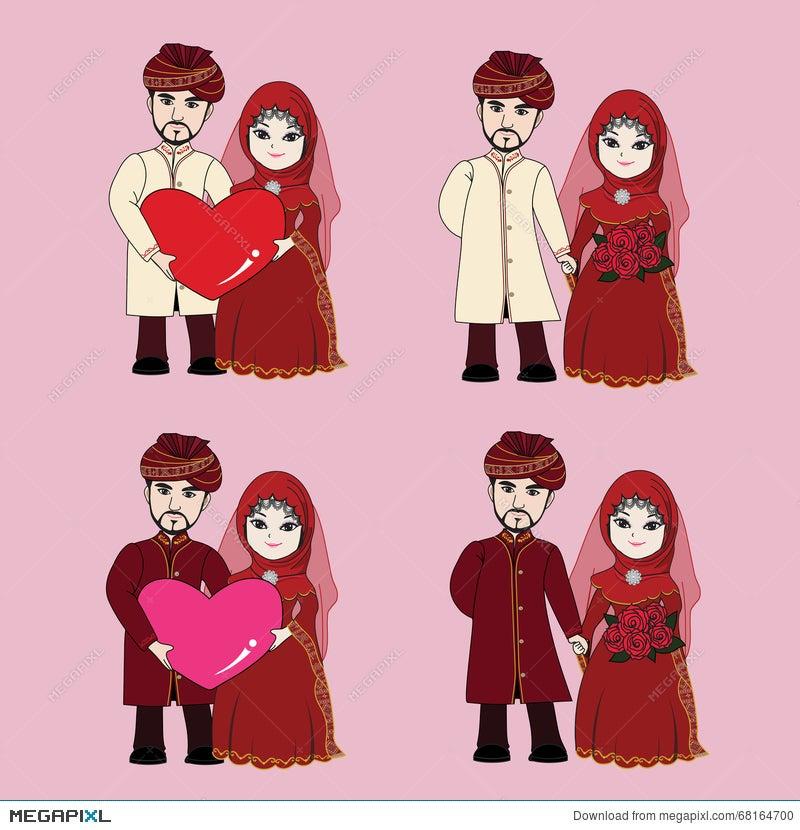 Muslim Wedding Couple Cartoon Illustration 68164700 Megapixl