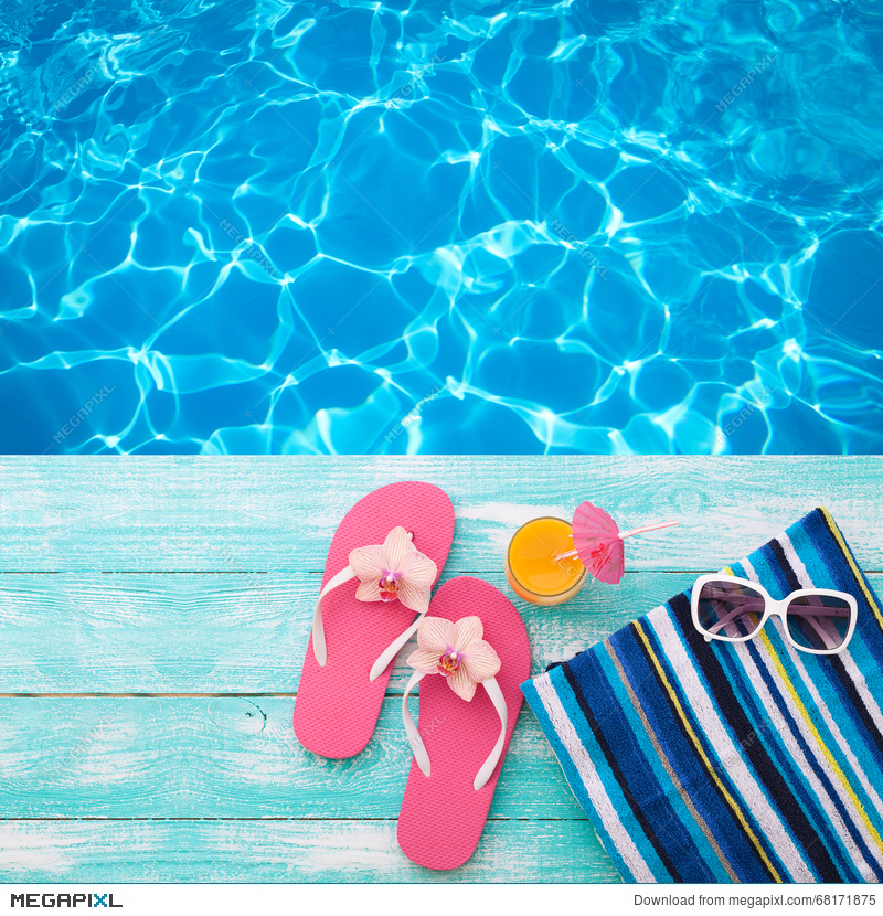 be9b0bd4a00561 Stock Photo: Summer Holidays In Beach Seashore. Fashion Accessories Summer Flip  Flops, Hat, Sunglasses On Bright Turquoise Board Near The Pool