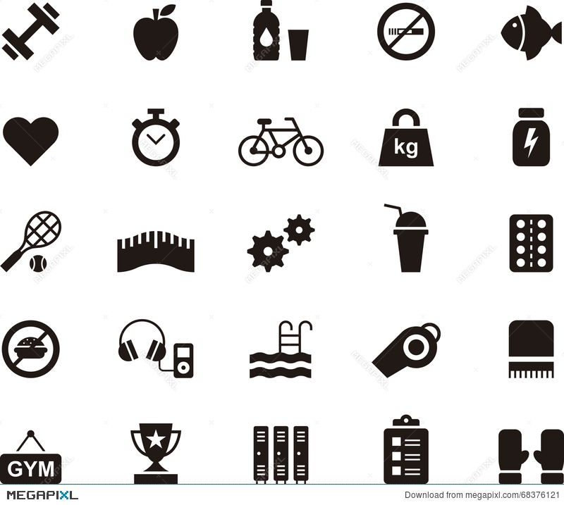 Fitness Health Care And Gym Icon Set Illustration 68376121 Megapixl