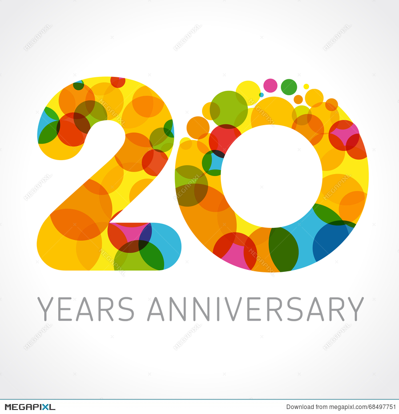 20 Years Anniversary Circle Colorful Logo Illustration 68497751