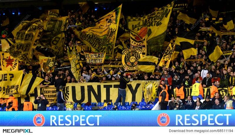 Borussia Dortmund Ultras With Flags Stock Photo 68511194 Megapixl