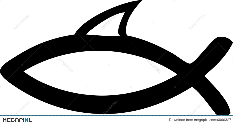 Jesus Symbol Christ Fish Fun Shark Fin Illustration 6860327