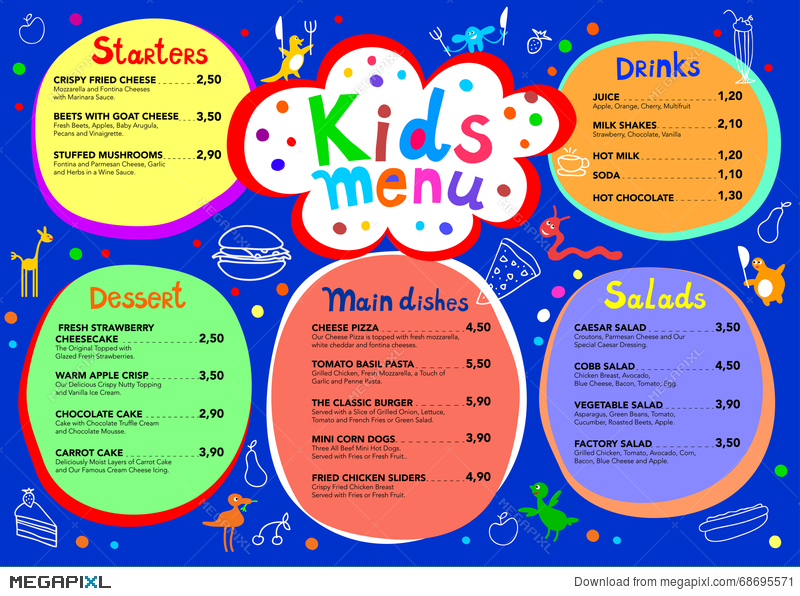 Cute Colorful Meal Kids Menu Template With Cute Little Monsters ...