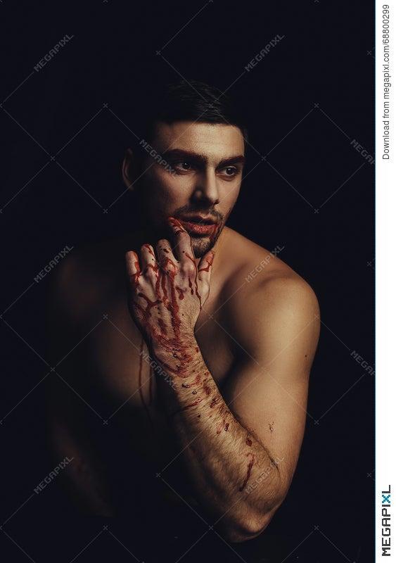 Beautiful Vampire Man Male After Fight Stock Photo 68800299 Megapixl
