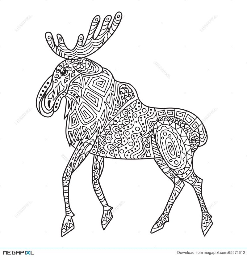 Tule Elk Deer Coloring page --> For the top-rated coloring books ... | 830x800