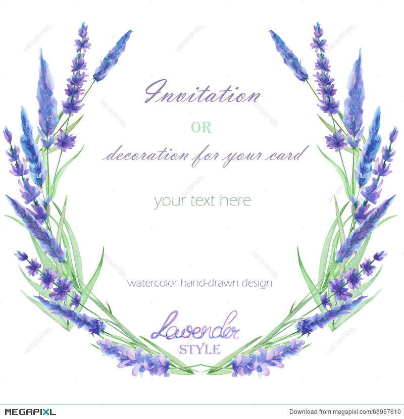 A Circle Frame Wreath Border With The Watercolor Lavender Flowers Wedding Invitation