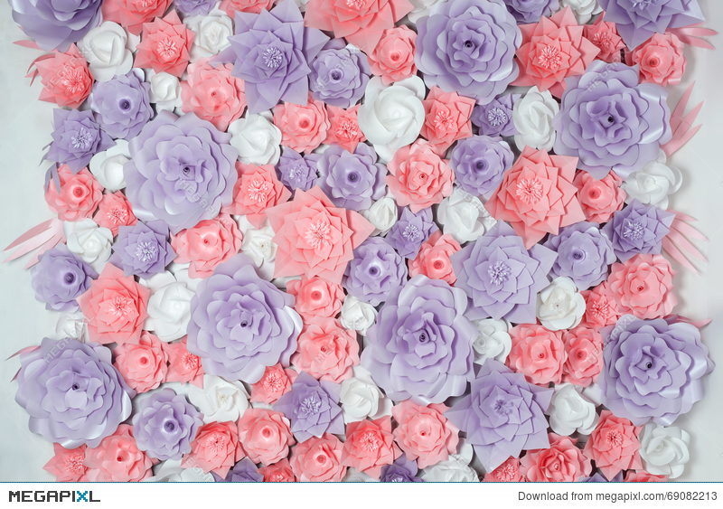 Colorful paper flowers background floral backdrop with handmade colorful paper flowers background floral backdrop with handmade roses for wedding day or birthday mightylinksfo