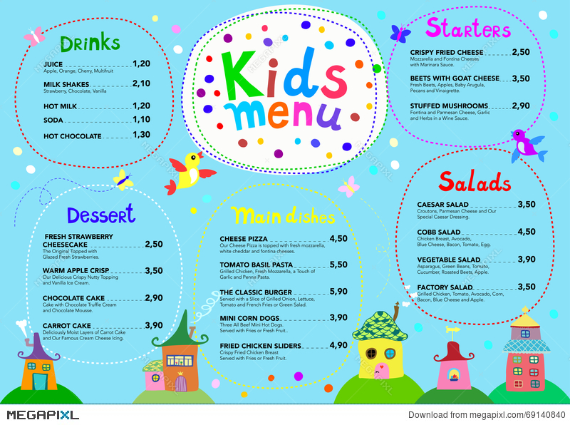 Cute Colorful Meal Kids Menu Template With Cute Little Sweet Houses  Kids Menu Templates