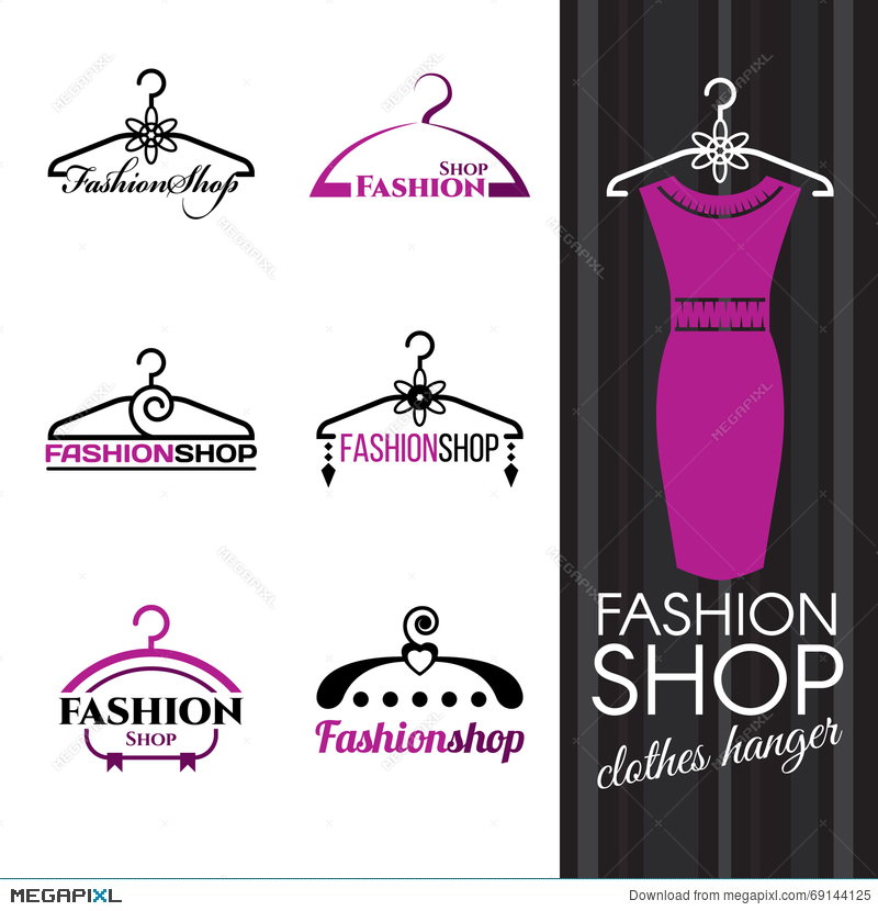 Fashion Shop Logo Violet Clothes Hanger Vector Set Design Illustration 69144125 Megapixl