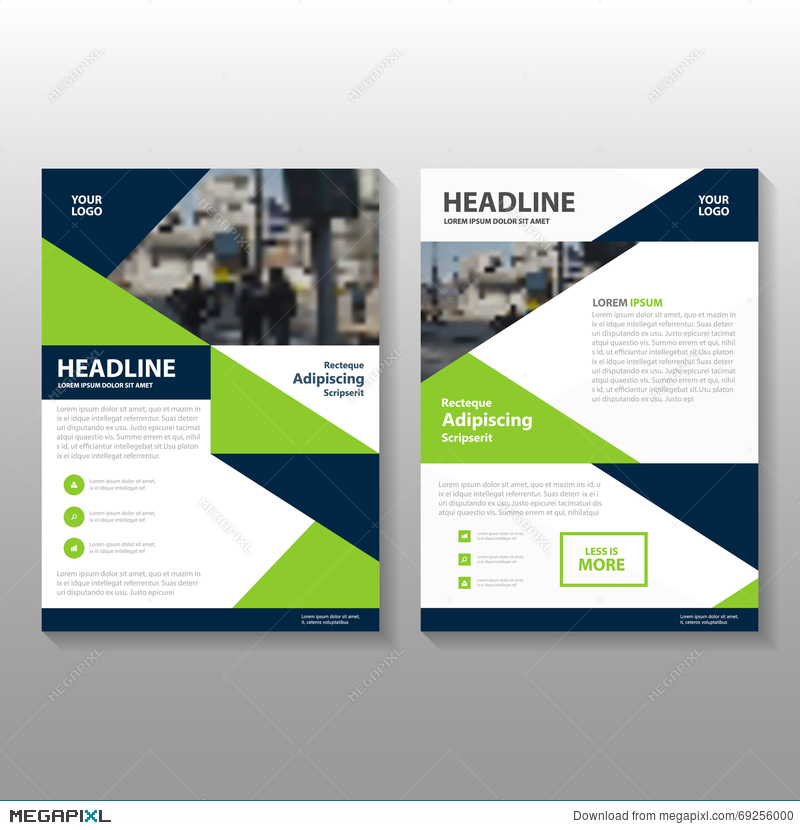 Abstract Triangle Green Blue Polygon Leaflet Brochure Flyer Template
