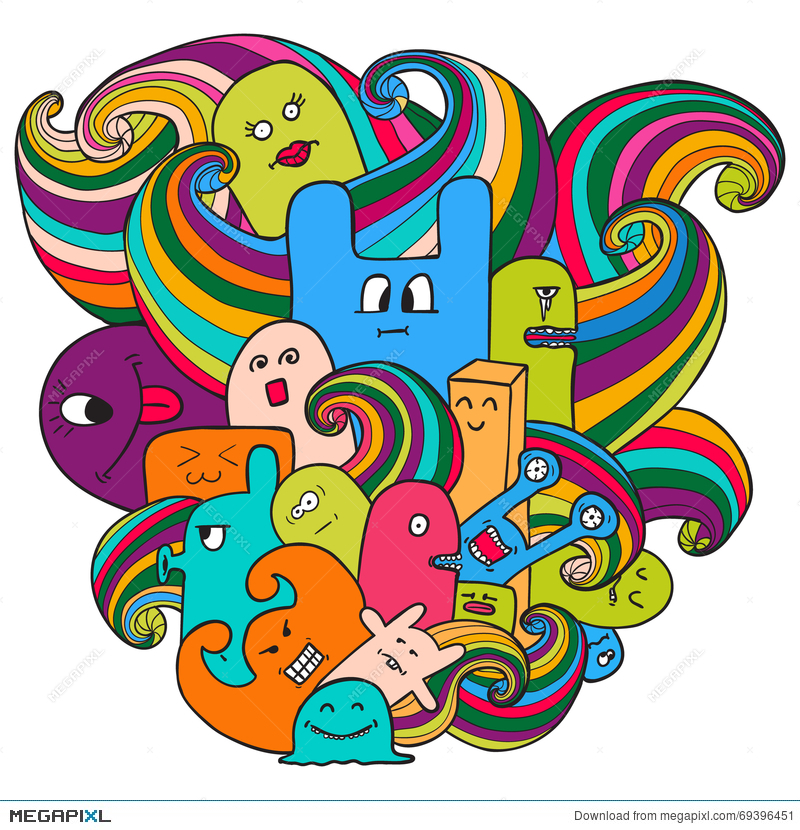 doodle vector illustration with monsters funny monsters graffiti