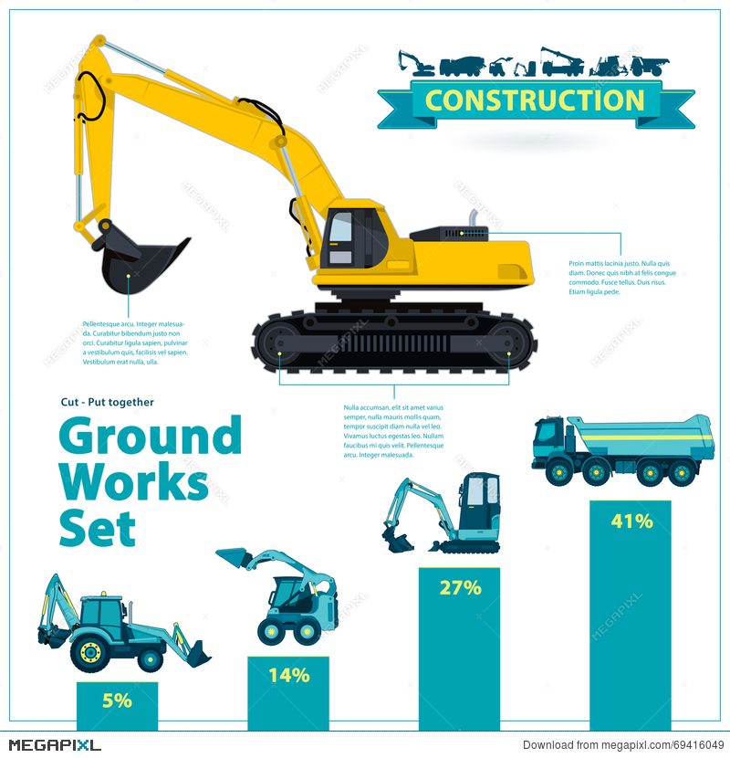 Construction Machinery Infographic Big Set Of Ground Works Machines Vehicles On White Background