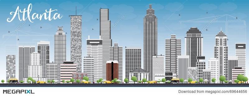 atlanta skyline with gray buildings and blue sky illustration