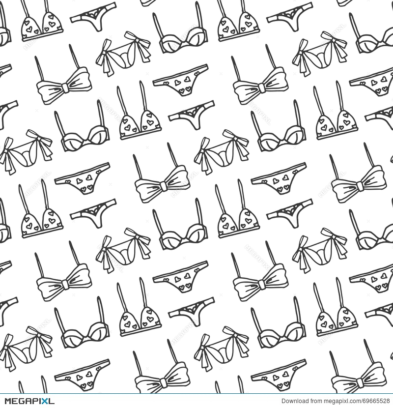 da86bea7d5 Illustration  Lingerie Seamless Pattern. Vector Underwear Background  Design. Outline Hand Drawn Illustration. Bras And Panties Doodle