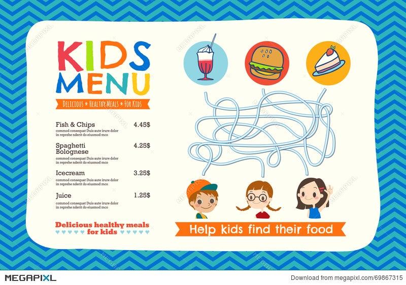Cute Colorful Kids Meal Menu Template Illustration 69867315   Megapixl  Menu Templates For Kids