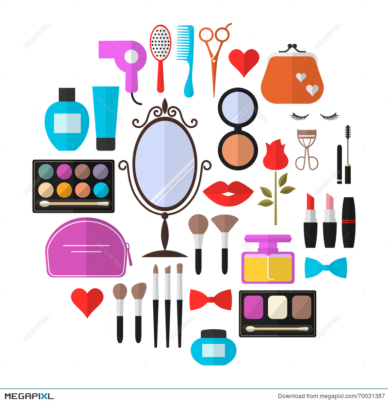 Beauty Cosmetic And Makeup Vector Flat Icons Illustration 70031387