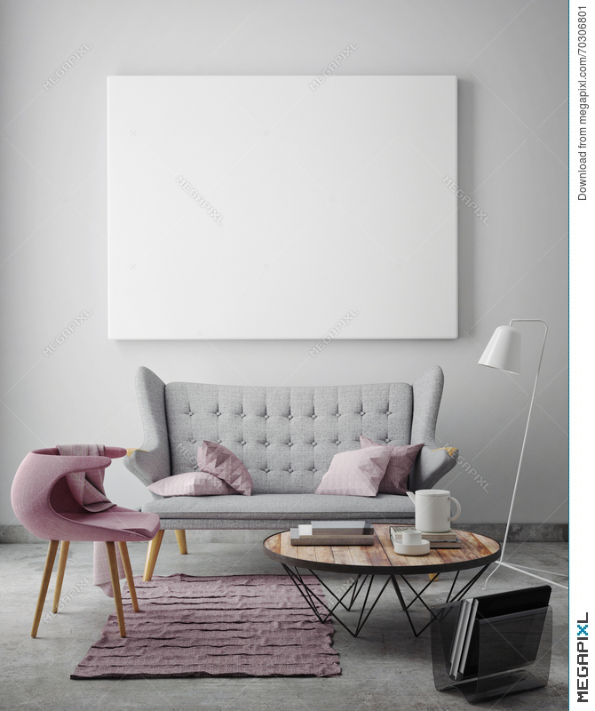 Mock Up Blank Poster On The Wall Of Livingroom Stock Photo 48 Custom Living Room Images Free