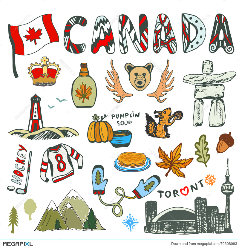 Sketch Hand Drawn Collection Of Canada Symbols Canadian Culture Had