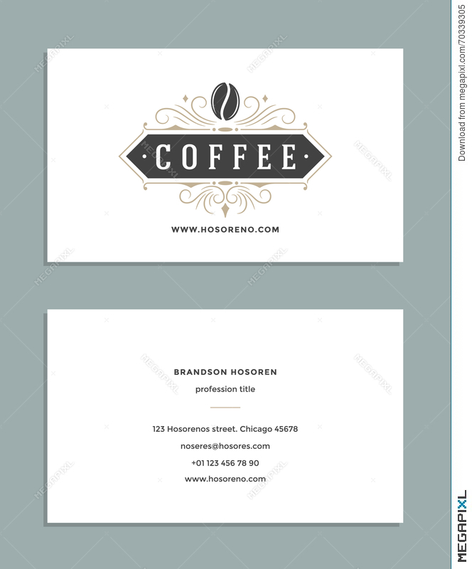 Business Card Design And Retro Style Template Coffee Shop Logo