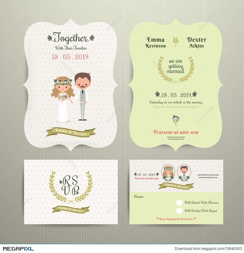 Bride Groom Cartoon Romantic Farm Wedding Invitation Card