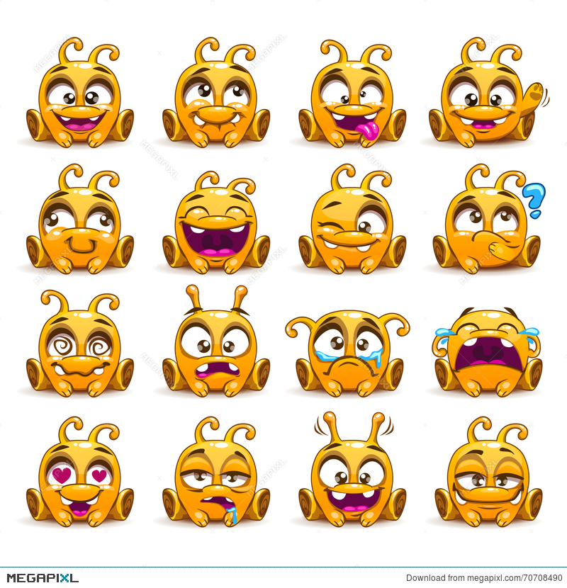Funny Yellow Alien Character Emoticons Set Illustration 70708490