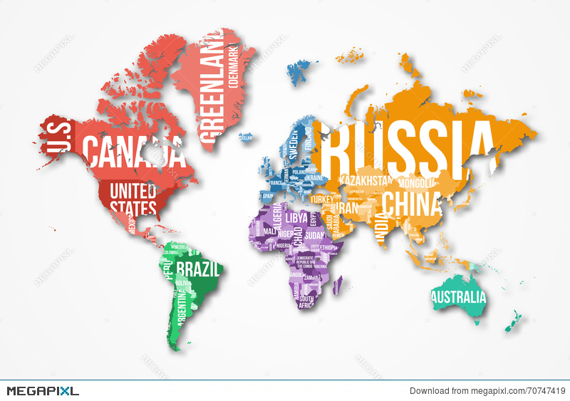 Vector detailed world map with borders and country names vector detailed world map with borders and country names gumiabroncs Image collections