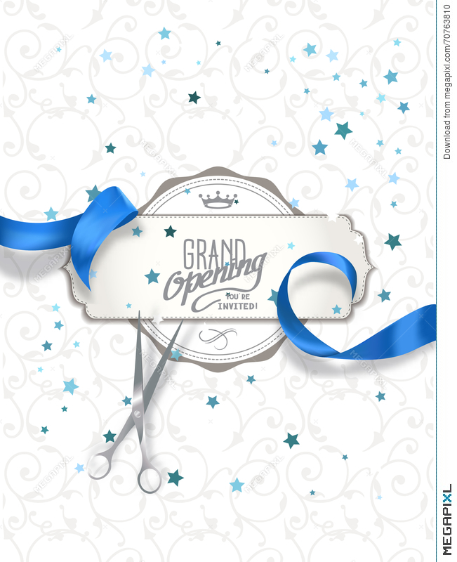 Grand opening invitation card with blue silk ribbon and scissors grand opening invitation card with blue silk ribbon and scissors stopboris Images