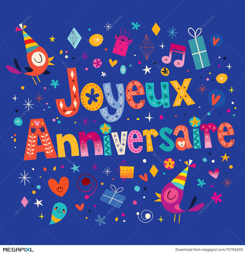 Joyeux Anniversaire Happy Birthday In French Card Illustration