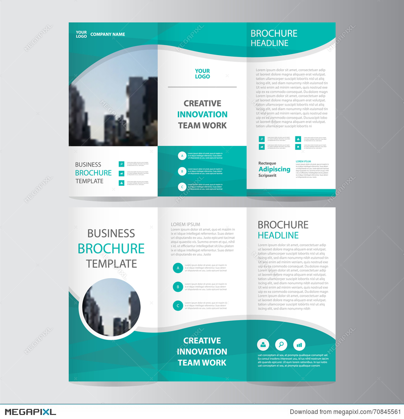 abstract green polygon trifold leaflet brochure flyer template design book cover layout design