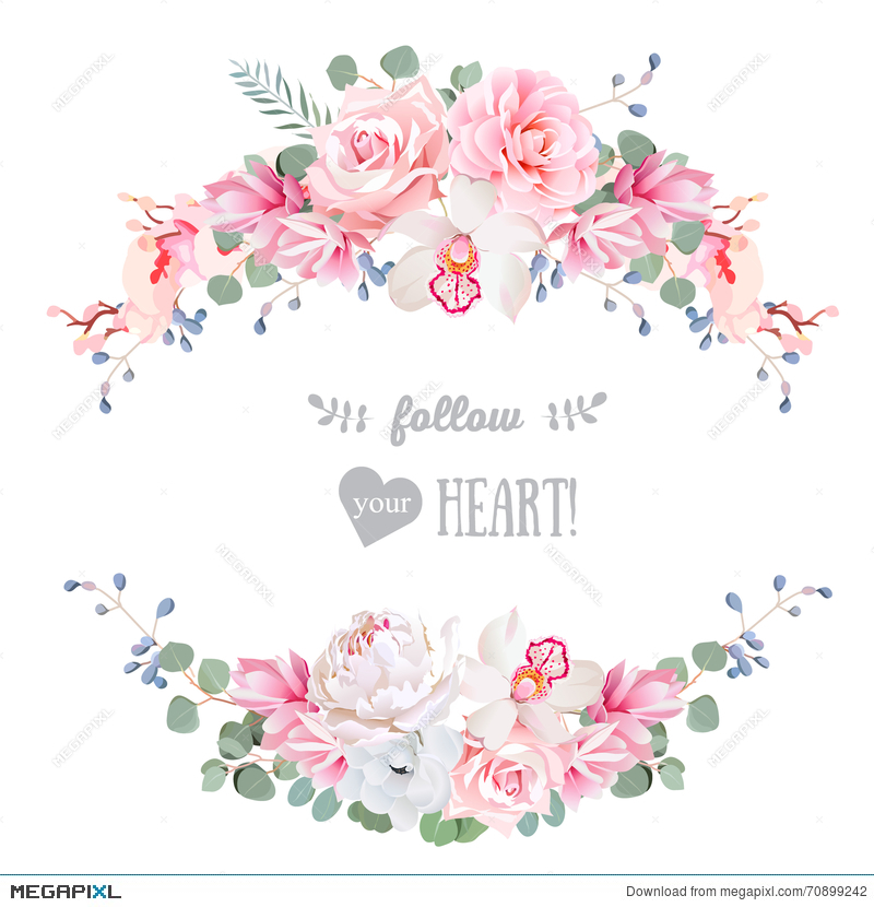 Cute Wedding Floral Vector Design Frame. Rose, Peony, Orchid ...
