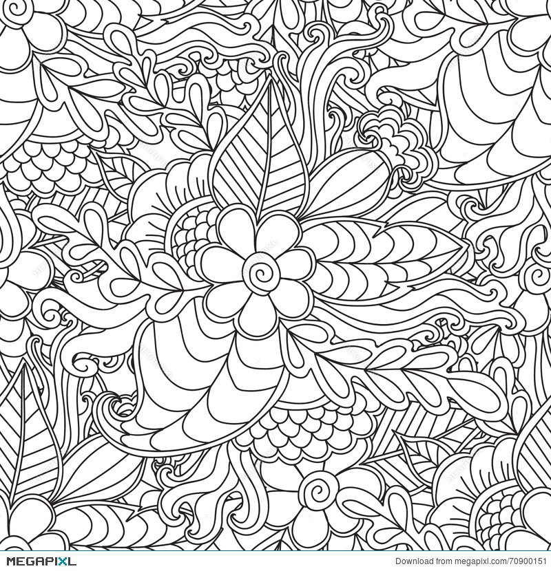 Pages For Adult Coloring Book Hand Drawn Artistic Ethnic Ornamental Patterned Floral Frame In Doodle