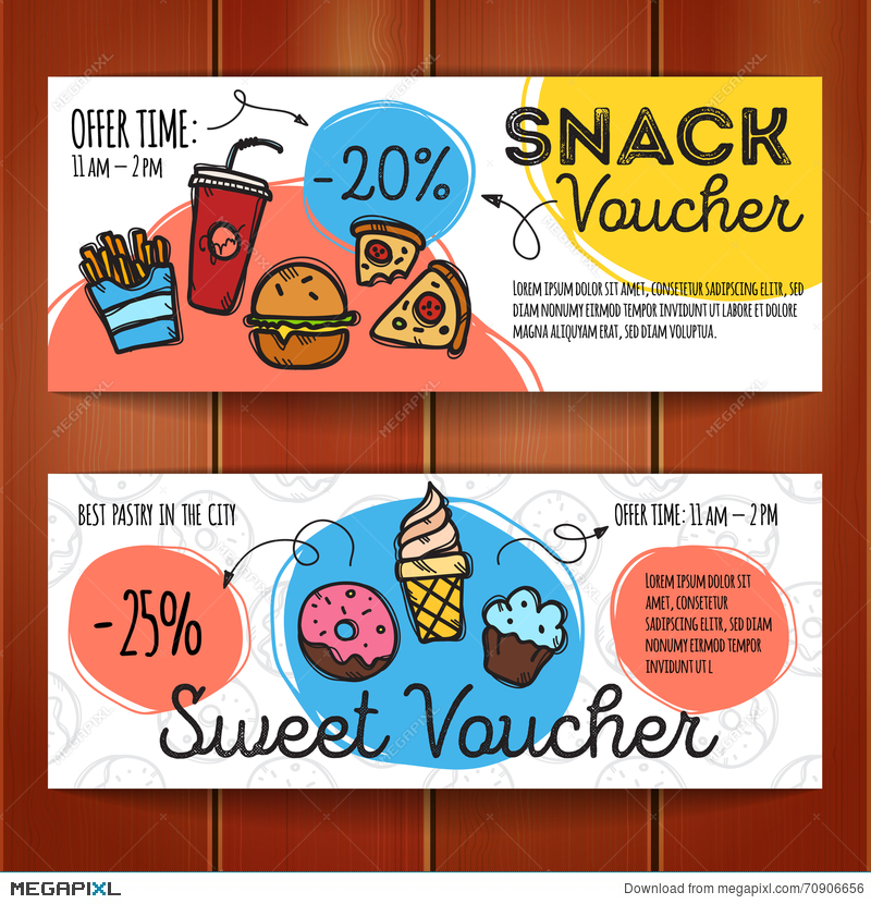 Vector Set Of Discount Coupons For Fast Food And Desserts Colorful Doodle Style Voucher Templates Snack Promo Offer Illustration 70906656 Megapixl